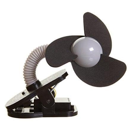 DreamBaby Clip On Stroller Fan, Black wSilver