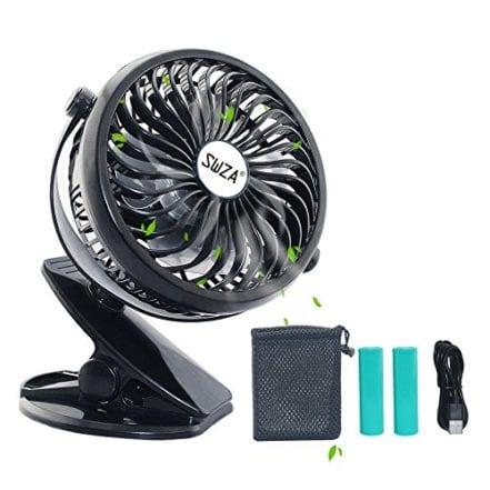 SWZA Portable Clip on Fan Rechargeable Battery Operated Fan