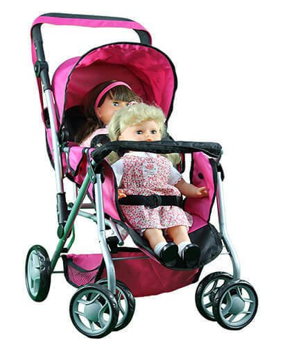 Mommy & Me TWIN Doll Pram Back to Back with Swiveling Wheels & Free Carriage Bag