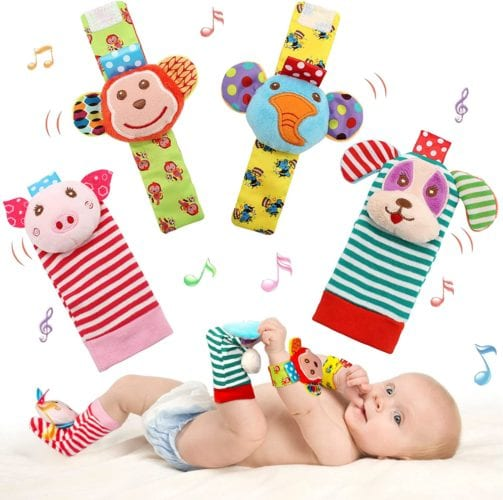 SSK Soft Baby Wrist Rattle Foot Finder Socks Set